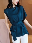 真絲上衣 緞面真絲短袖t恤女夏2021新款純色寬鬆系帶收腰中長款桑蠶絲上衣 歐歐