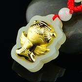 金鑲玉項鍊 和闐玉吊墜-平安天使生日情人節禮物男女飾品73gf49【時尚巴黎】