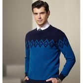 圓領針織衫-韓版羊毛百搭加厚格子新款男毛衣3色72k13【巴黎精品】