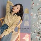 襯衫 Space Picnic|小清新花草雪紡長袖襯衫(現貨)【C19082017】