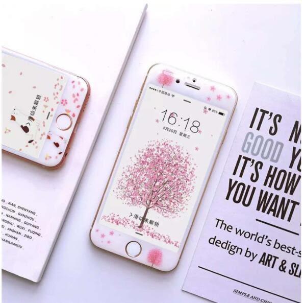 [24hr-現貨快出] iphone 6s plus 7 plus 櫻花樹 全屏玻璃膜 鋼化玻璃膜 螢幕貼 保護貼