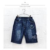 大童 時尚字母刺繡徽章牛仔短褲 胖童 大腰褲 五分褲 寬鬆 鬆緊腰 男童 哎北比童裝