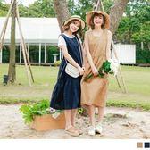 《DA5437》竹節棉無袖長版拼接裙娃娃洋裝 OrangeBear