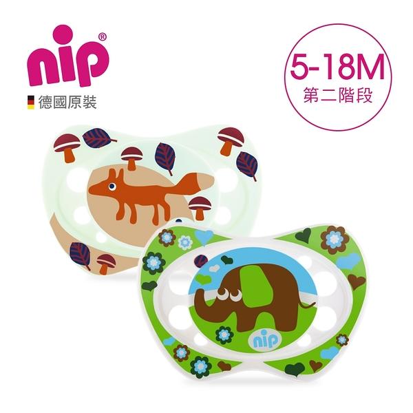 nip 德國矽膠拇指型安撫奶嘴5~18個月/2入-狐狸+大象 G-31302-1