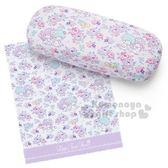 〔小禮堂〕雙子星 皮質硬殼眼鏡盒《紫.花園》附眼鏡布.收納盒 4901610-67232