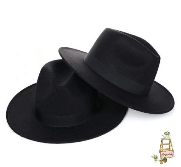 帽子男女英倫復古禮帽正韓潮紳士大檐寬檐帽子
