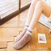 長統襪 雙杠學院風加厚加絨毛圈睡保暖珊瑚絨中筒襪子 Ifashion