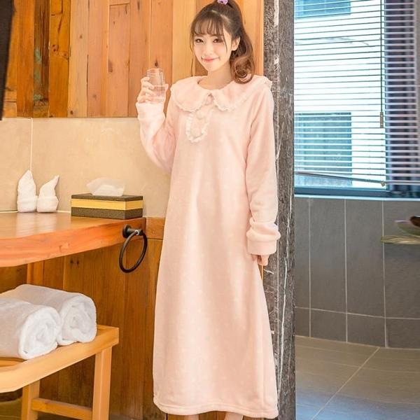 秋冬季可愛珊瑚絨加厚睡袍女加長款法蘭絨睡衣女士浴袍睡裙浴衣