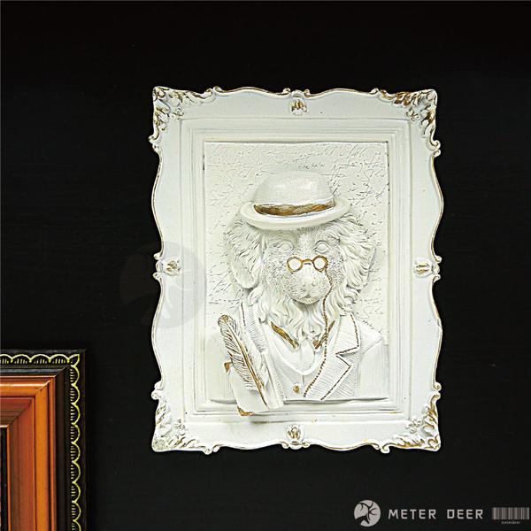 狗 汪星人立體寵物動物壁掛畫 浮雕裝飾相框畫 貴族風 毛小孩禮物 店牆面設計裝飾-米鹿家居