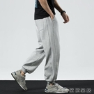 運動褲 運動褲男束腳休閒長褲男士春季闊腿褲衛褲針織寬鬆大碼灰色哈倫