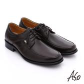 A.S.O 勁步雙核心 全真皮綁帶奈米紳士皮鞋  咖啡