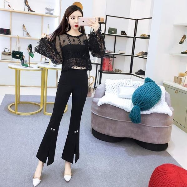 2018夏季新款韓版女裝蕾絲長袖鏤空上衣高腰修身開叉喇叭褲套裝女