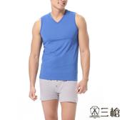 三槍牌  時尚精典運動型男涼爽V領寬肩背心~3件組隨機取色