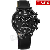 TIMEX 天美時 / TXTW2R71800 /  美國品牌 INDIGLO專利冷光照明 日期 三眼計時 真皮手錶 黑色 40mm