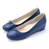 karine(MIT台灣製)全真皮內增高楔型娃娃鞋-寶藍色