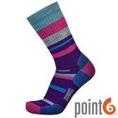 【POINT 6 美國】mixed stripe medium 健行中筒羊毛襪 『條紋紫』22611567 露營|休閒|保暖襪|羊毛