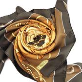 【奢華時尚】秒殺推薦!HERMES 印花圖案駝色底深咖啡色框絲質大披肩(八八成新)#23728
