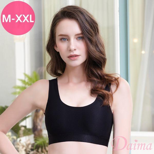 (M-XXL)時尚運動無痕無鋼圈蕾絲性感V型美背後扣式內衣_黑【Daima黛瑪】
