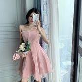 洋裝細肩帶 無袖小晚禮服女2020新款簡單大方氣質生日洋裝宴會平時可穿粉色連衣裙【快速出貨】