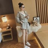 2019夏裝新款大碼女裝200斤胖mm寬鬆上衣防曬兩件套短褲衣套裝潮