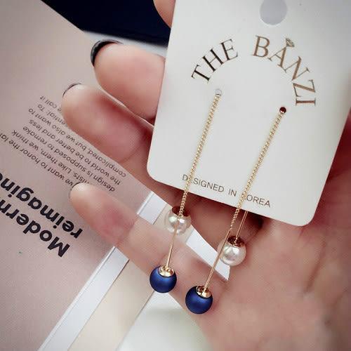 【NiNi Me】 韓系耳環 氣質優雅珍珠流蘇長款耳環 耳環 N0085