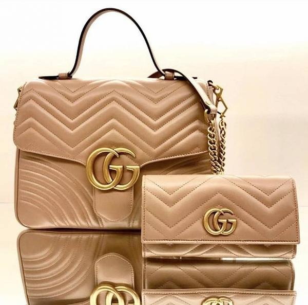■專櫃88折■ Gucci 全新真品 443436 GG Marmont 衍縫翻蓋長夾 復古玫瑰米色