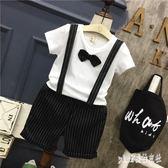 男童周歲禮服夏季英倫風洋氣寶寶領結短袖兩件套兒童背帶褲套裝潮HT1553