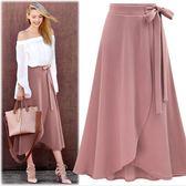 下身裙2018新款高腰不規則裙子開叉裙歐美大碼中長款綁帶女裙cy潮流站