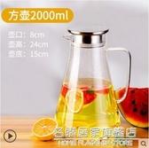 冷水壺玻璃耐熱高溫防爆家用大容量水瓶涼白開水杯茶壺套裝涼水壺 名購居家