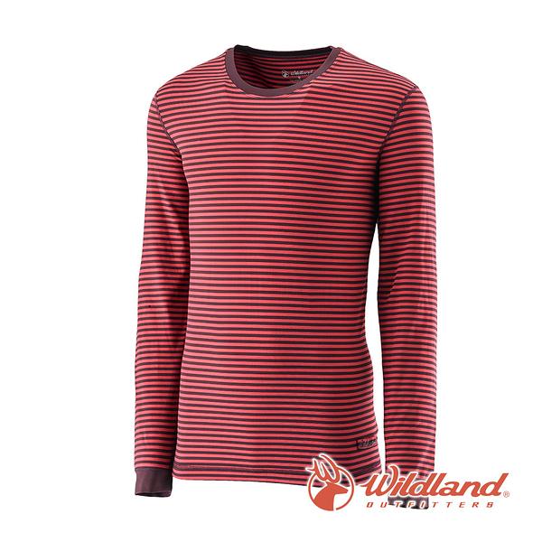 [Wildland] 荒野 (男) 遠紅外線條紋保暖衣 暗紅 (0A22662-12)