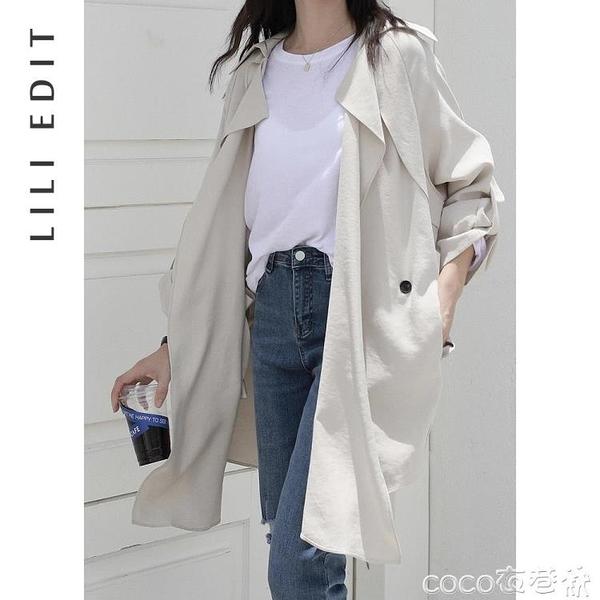 風衣外套 LILIEDIT/薄款收腰風衣外套女秋季2021新款寬鬆韓版小個子中長款 coco