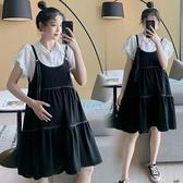 孕婦裙 白色泡泡袖襯衫上衣 寬松大碼吊帶連衣裙A版遮肚洋氣孕婦兩件套