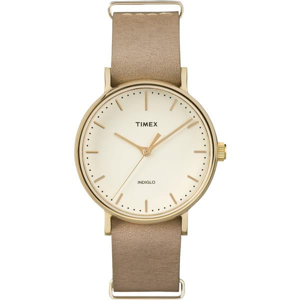 【時間道 】〔TIMEX。天美時〕簡約個性時尚腕錶– 米白面金殼淺駝皮(TW2P98400/TXT2P98400)免運費