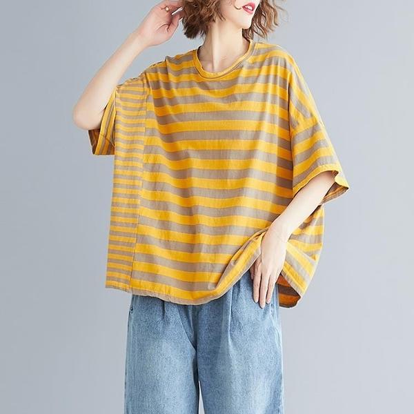 夏裝2020新款韓版寬鬆大碼女裝文藝減齡條紋百搭休閒短袖T恤上衣 快速出貨