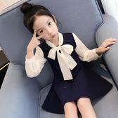 女童連衣裙春裝2018新款童裝大童蝴蝶結雪紡拼接韓版兒童長袖裙子   夢曼森居家