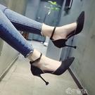 涼鞋女女鞋正韓百搭包頭中空細跟高跟鞋一字扣涼鞋女 交換禮物