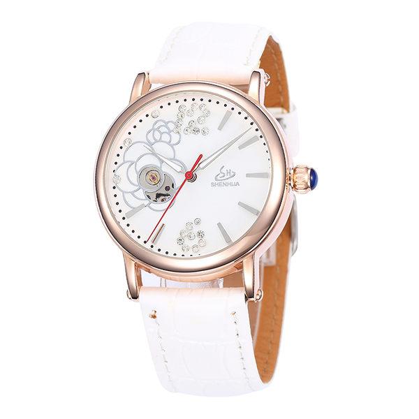 時尚韓版全自動機械錶 女錶 鏤空手錶女皮帶 鋼帶 防水【時尚家居館】