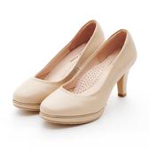 MICHELLE PARK 典雅 ‧ 線條壓紋金屬厚底高跟鞋-膚