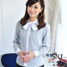 【S-43ED】森奈健-優雅成熟OL吸濕排汗短領巾長袖女襯衫(黑白色條紋)