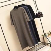 針織洋裝半高領黑色針織中袖長款打底連身裙女春秋寬鬆過膝大碼內搭T恤裙