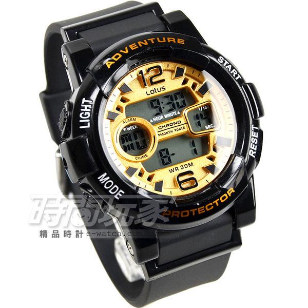 Lotus 時尚錶 流行時尚電子腕錶 女錶 橡膠錶帶 TP1350L-09黑金 防水手錶 電子錶 中性錶 女錶 男錶