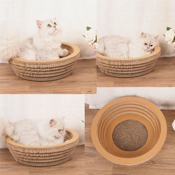 玩耍 休息兩不誤 快到碗裏來 貓抓板 碗形 瓦楞紙 貓窩 貓咪玩具