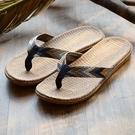 夏季新款亞麻拖鞋男士人字拖沙灘潮流拖鞋室外居家夾腳復古拖鞋男