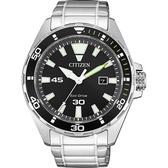 CITIZEN 星辰 光動能運動風手錶-黑x銀/43.5mm BM7451-89E