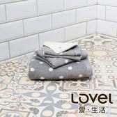 Lovel 專利咖啡紗除臭抗UV圓點3件組(浴巾/毛巾/方巾)-灰