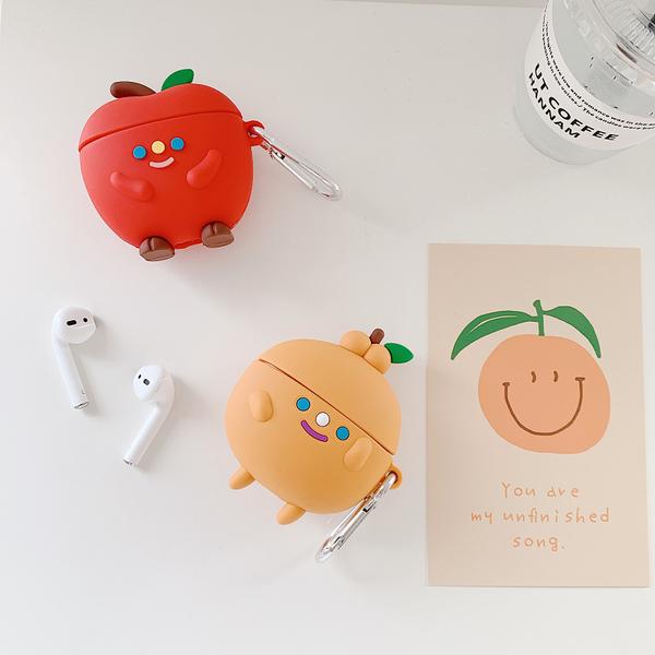 Airpods Pro 專用 1/2代 台灣發貨 [ 立體蘋果人和橘子人 ] 藍芽耳機保護套 蘋果無線耳機保護