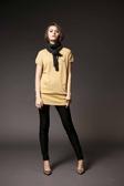 【 HEDY 】赫蒂秋冬品牌服飾特賣~ 金蔥布側邊鈕釦造型短袖長版線衫 NO.HW3652