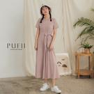 PUFII-洋裝 側腰綁帶素面長洋裝-0...