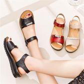 媽媽涼鞋真皮平跟軟底中老年女鞋平底防滑奶奶鞋中年老人涼鞋女夏 東京衣櫃