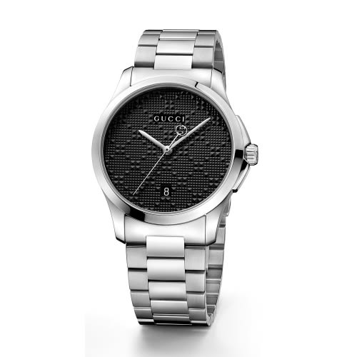 GUCCI G-TIMELESS菱紋腕錶/黑色/38mm/126460